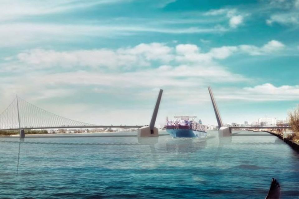 Een impressie van hoe de toekomstige fietsers- en voetgangersbrug over de Schelde er kan uitzien. JONGCD&V vindt dat het geld voor een nieuwe studie naar de brug minstens deels naar het onderhoud van de tunnels moet gaan.
