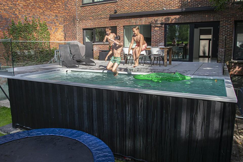 Het containerzwembad in de tuin van Bart Willekens in Balen wordt goed gebruikt.