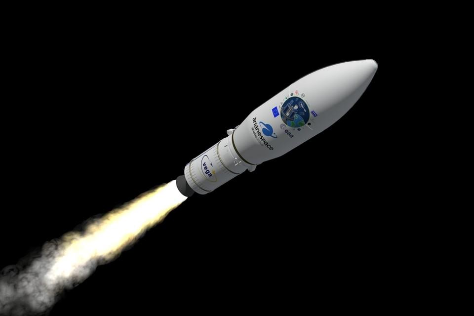 De Vega-raket waarmee de satellieten gelanceerd worden