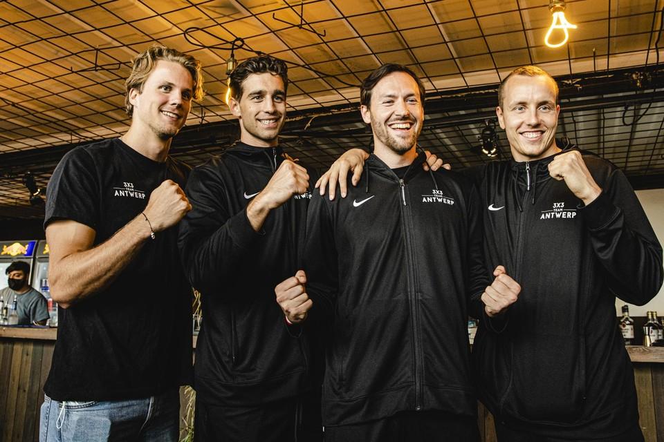 Thibaut Vervoort, Rafaël Bogaerts, Thierry Mariën en Nick Celis.