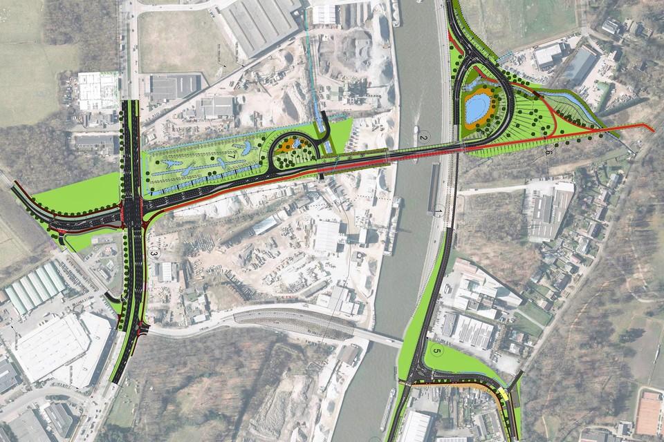 Het ontwerp van de nieuwe Hoogmolenbrug. Kant Deurne = links. Schoten = rechts. De huidige Hoogmolenbrug zie je onderaan.
