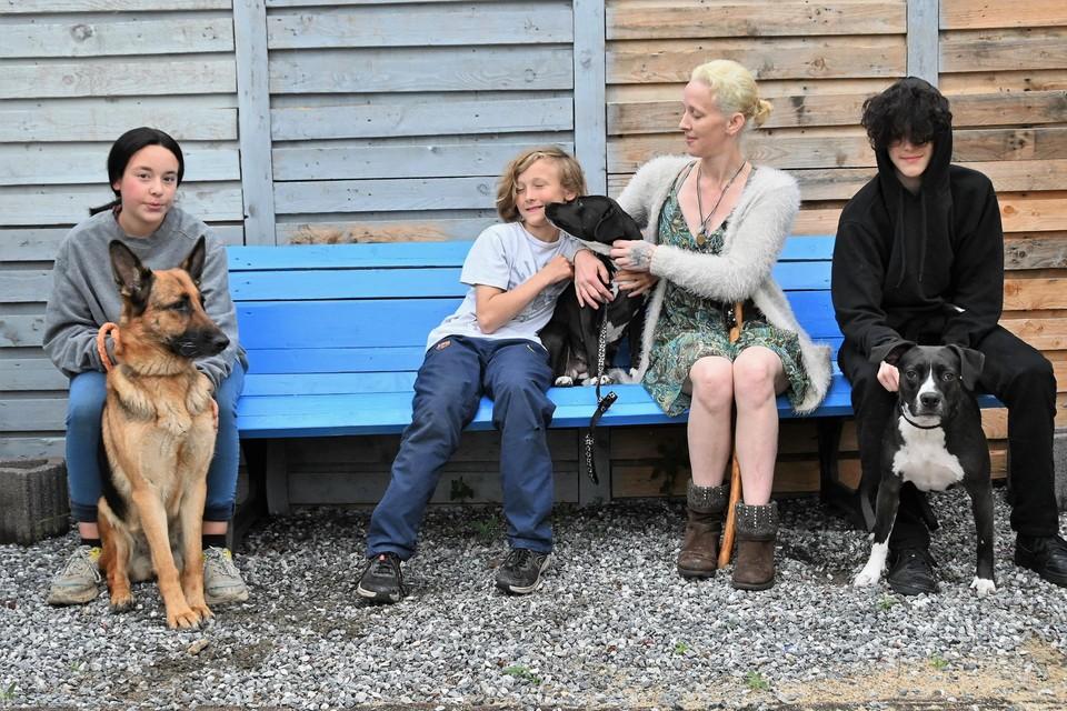 Clare Pidgeon en drie van haar kinderen met Dotje, Patch en Dicky.