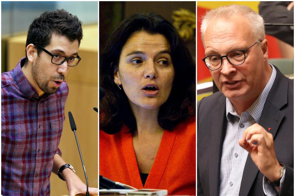 Oppositieleden Imade Annouri (Groen), Nahima Lanjri (CD&V) en Peter Mertens (PVDA).