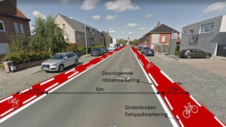Zo moet het nieuwe fietspad tussen Heist-centrum en deelgemeente Hallaar eruit gaan zien.