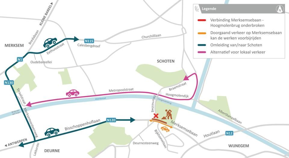 Vanaf 7 juni moet het autoverkeer deze route volgen om van en naar Schoten te geraken. Fietsers en voetgangers kunnen mits wat laveren aan het kruispunt beneden op de Merksemsebaan wel over de Hoogmolenbrug.