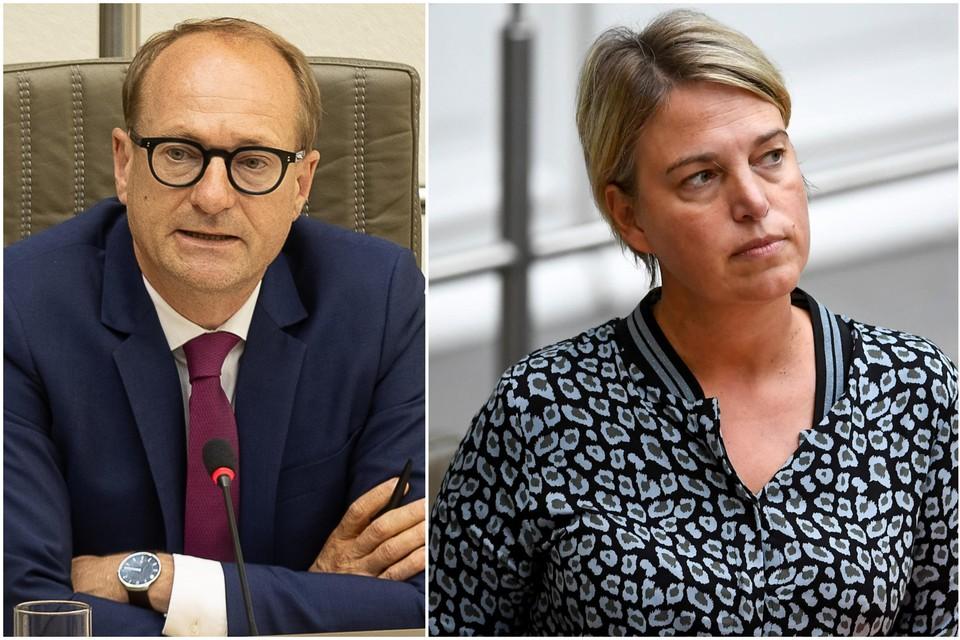 Ben Weyts, toenmalig minister van Openbare Werken, en Joke Schauvliege, toenmalig minister van Leefmilieu.