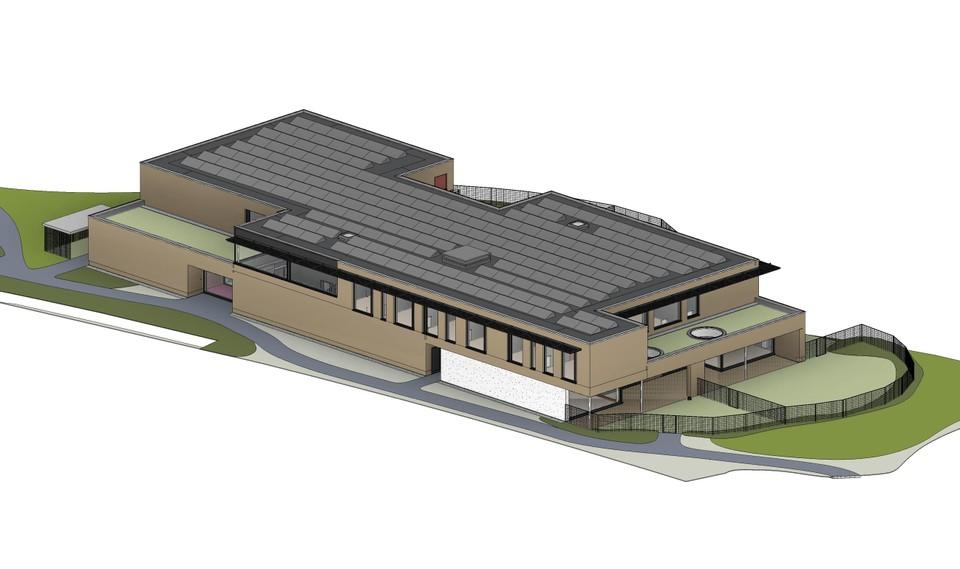 Een impressie van de nieuwbouw met plek voor vier leefgroepen.