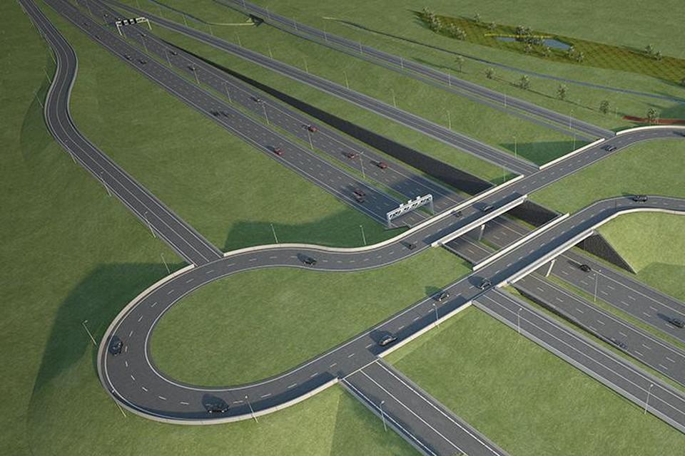 Zo zal de kluifrotonde over de E34 er uitzien, met de aansluiting op de Canadastraat en Keetberglaan aan de noordkant.