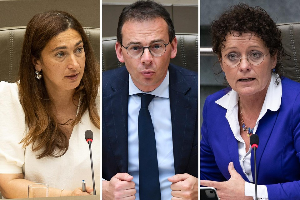 Vlaamse ministers Zuhal Demir (N-VA), Wouter Beke (CD&V) en Lydia Peeters (Open VLD).