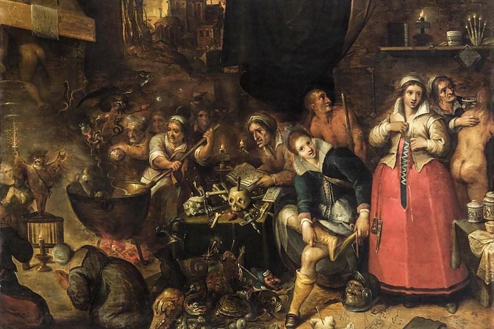 Heksenkeuken uit 1604, een schilderij van Antwerpenaar Frans Francken II. Het afgehakt Spaans soldatenhoofd en de schedel, in combinatie met de datum, doen vermoeden dat de kunstenaar zich liet inspireren door de Antwerpse heks Clara Goessen.