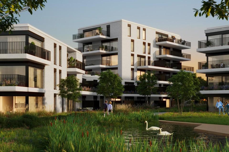 De appartementen worden opgetrokken in een functioneel-moderne stijl te midden van groen, waterpartijen, fiets- en wandelpaden.