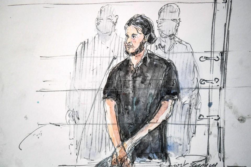 Salah Abdeslam in de rechtszaal.