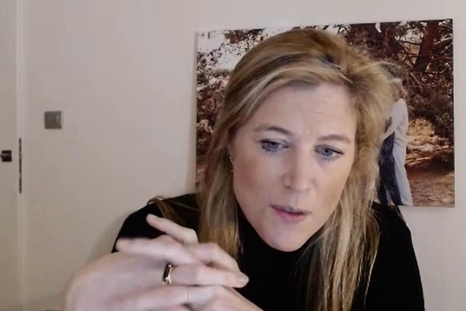Minister Annelies Verlinden sprak haar CD&V- partijgenoten in Schoten  toe via videoconferentie.