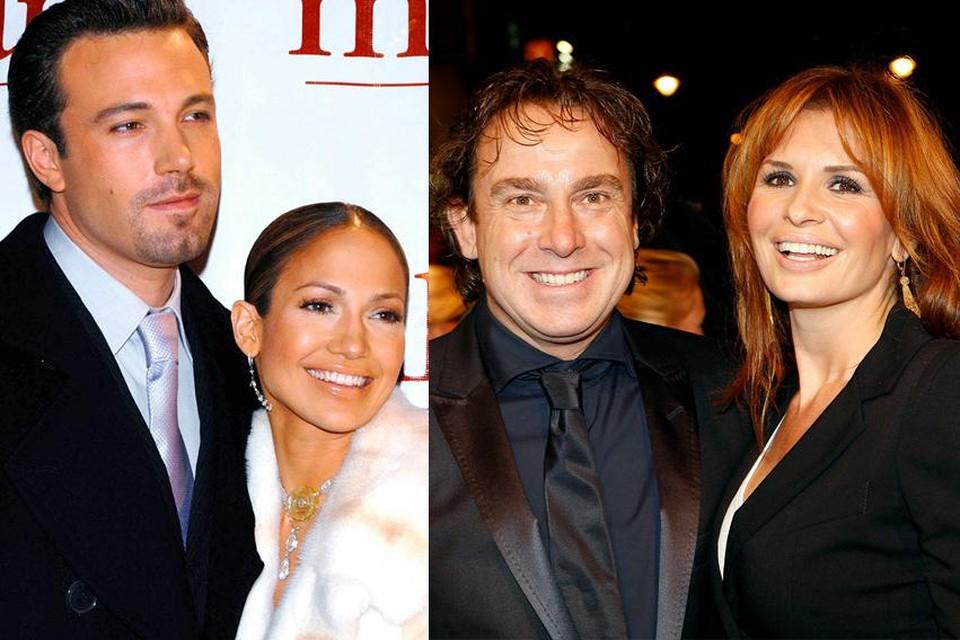 Ben Affleck en Jennifer Lopez, alias 'Bennifer', ooit al gelukkig van 2002 tot 2004. Marco Borsato en Leontine, vorig jaar gescheiden wegens zijn scheven schaatsen, nu weer aan het daten.
