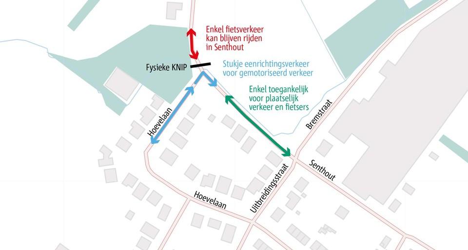 De knip in Senthout zorgt ervoor dat je niet meer richting Lintsesteenweg (kruispunt OKay) kunt.