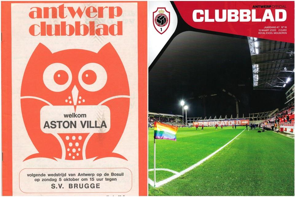 Een clubblad uit 1974. Rechts: het laatste gedrukte 'Antwerp Clubblad'.