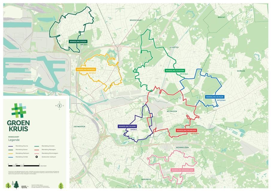 Op deze kaart zien je hoe de nieuwe wandelroutes uitgestippeld werden verspreid over de hele stadsrand.