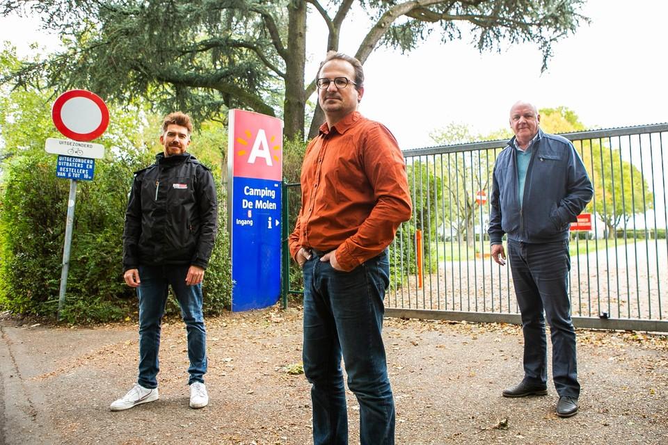 Willem Storms van Werkmmaat, Wim Dekoning van t-Kompas en Stef Bossaert van Werkmmaat zijn de nieuwe uitbaters van camping De Molen.