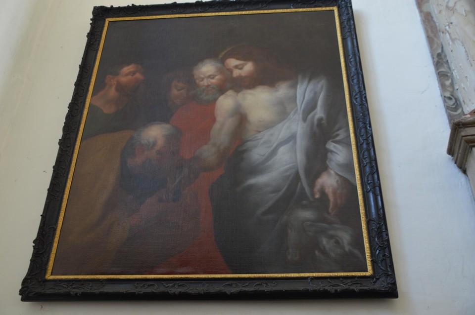Dit is niet Thomas die de hand van Jezus kust, maar Petrus die de sleutelbos van het Koninkrijk van Jezus ontvangt.