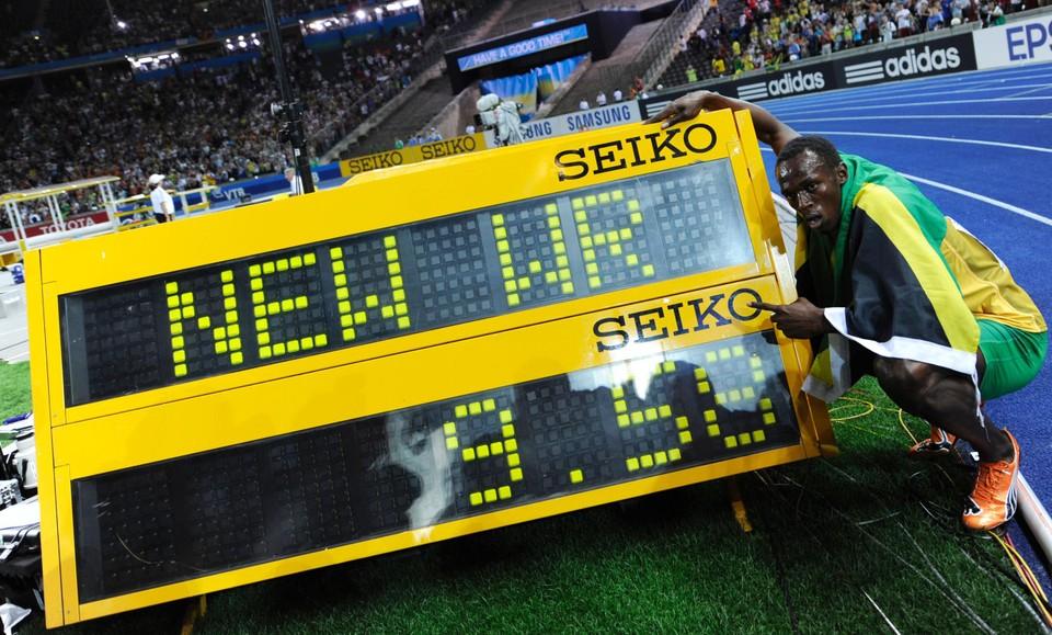 Het fabelachtige wereldrecord liep Bolt in 2009 in Berlijn.