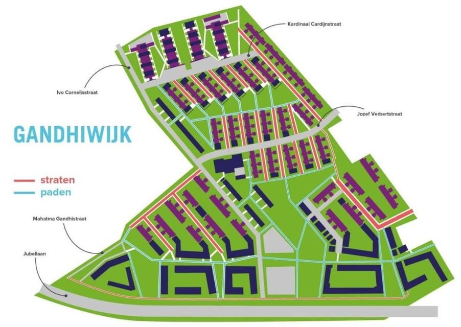 Een plan met alle straten en paden in de wijk.