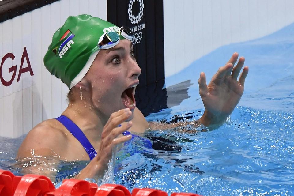 Tatjana Schoenmaker kon het zelf haast niet geloven, maar de Zuid-Afrikaanse zwom op de 200 meter schoolslag naar een nieuw wereldrecord.