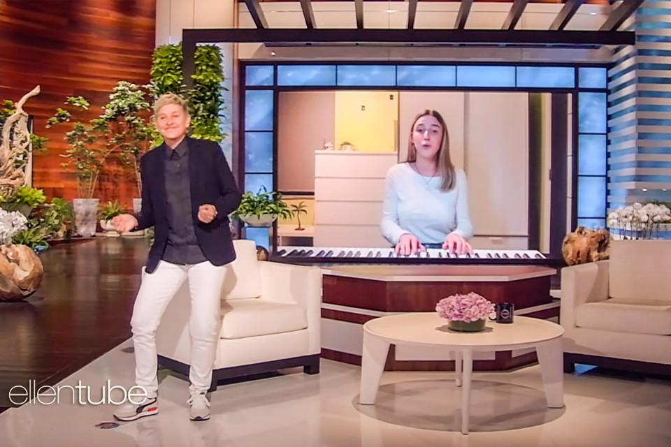 Talkshowhost Ellen DeGeneres kan de benen niet stilhouden op Lises versie van de Brabançonne.