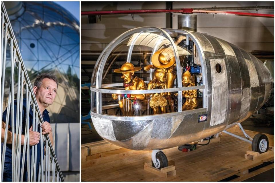 Kunstenaar Alessandro Tardioli (54) bij het Atomium in Brussel. Rechts zijn Gyratom, geïnspireerd door de Gyronef van Suske en Wiske.