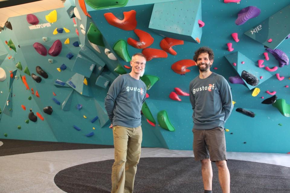 Jan Larosse en Peter Schildermans zijn in hun nopjes met de opening van boulderzaal Gustaaf Klimt.