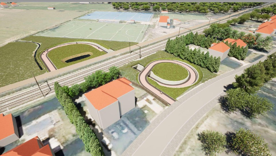 Een tunnel voor fietsers en voetgangers verbindt de Stijn Streuvelslaan en de Hockeyweg.