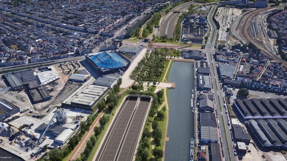 De omgeving van het Sportpaleis zal er over enkele jaren onherkenbaar uitzien. Het viaduct zal verdwijnen en de Ring verdwijnt gedeeltelijk onder de grond.