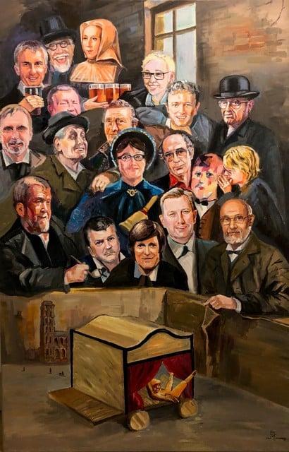 Een medewerker van Sjarabang schilderde Het Hanengevecht met Mechelse prominenten. Het werk leverde achthonderd euro op.