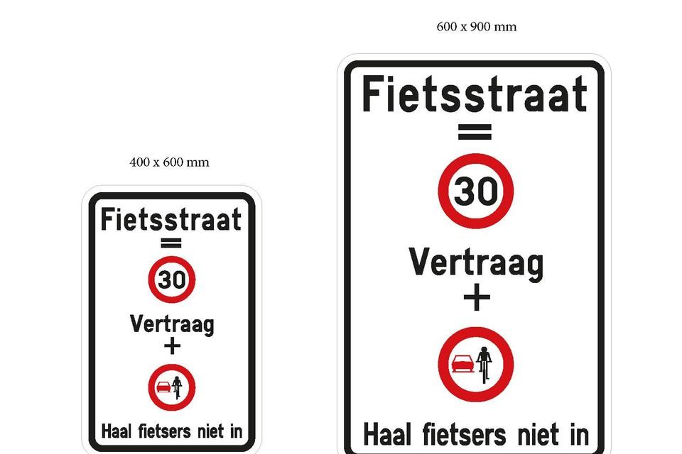 Deze sensibiliseringsborden wijzen automobilisten op de regels in een fietsstraat.
