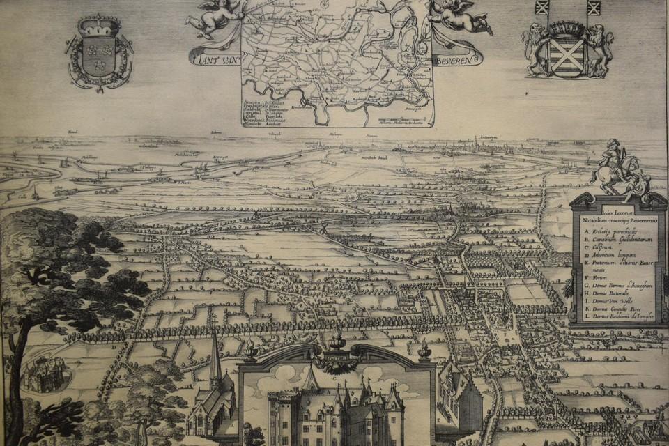 Kaart van het Land van Beveren met in het midden vooraan een detail van kasteel Singelberg uit Antonius Sanderus, Flandria Illustratie (circa 1641).