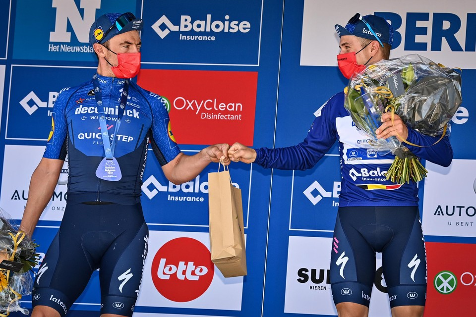 Ze reden nog samen de Baloise Belgium tour, woensdag op het BK tijdrijden zijn ze even elkaars concurrenten: Yves Lampaert en Remco Evenepoel