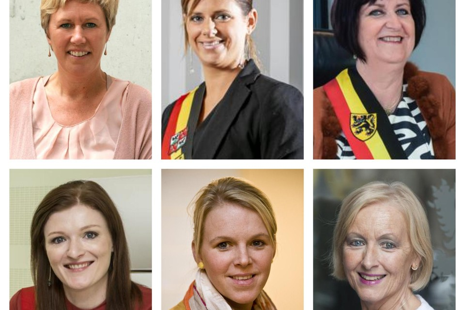 Zes van de zeven vrouwelijke burgemeesters uit de Kempen: Tine Gielis uit Laakdal, Marianne Verhaert uit Grobbendonk, Marleen Peeters uit Lille, Nele Geudens uit Meerhout, Dorien Cuylaerts uit Rijkevorsel en Vera Celis uit Geel.