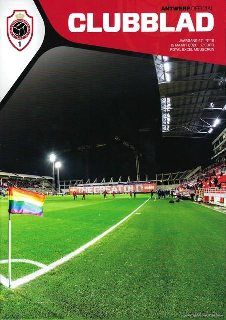 Het laatste gedrukte 'Antwerp Clubblad', voor de nooit gespeelde wedstrijd tegen Moeskroen op 15 maart 2020.
