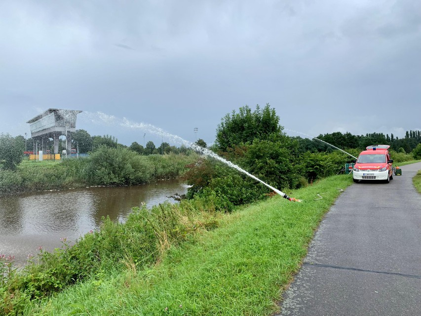 Op verschillende plaatsen zette de brandweer pompen in om zuurstof in het water te krijgen.