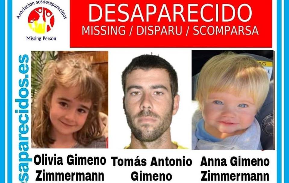 Het opsporingsbericht naar de meisjes en hun vader Tomas.
