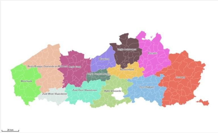 Vlaanderen is ingedeeld in dertien referentieregio's.