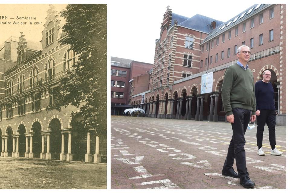 Links: de speelplaats omringd door statige gebouwen, begin twintigste eeuw.Rechts: het Klein Seminarie vandaag.