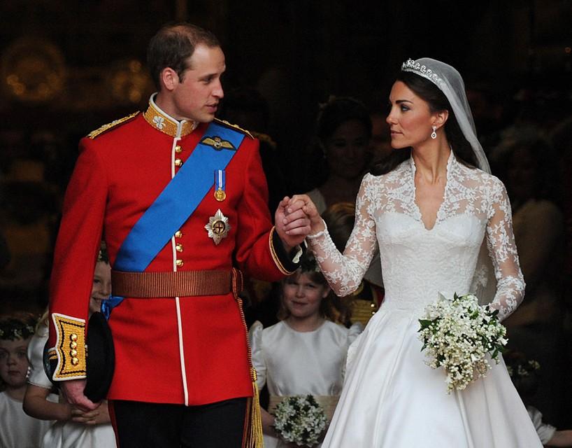Bij hun huwelijk in Westminster Abbey, vandaag tien jaar geleden.
