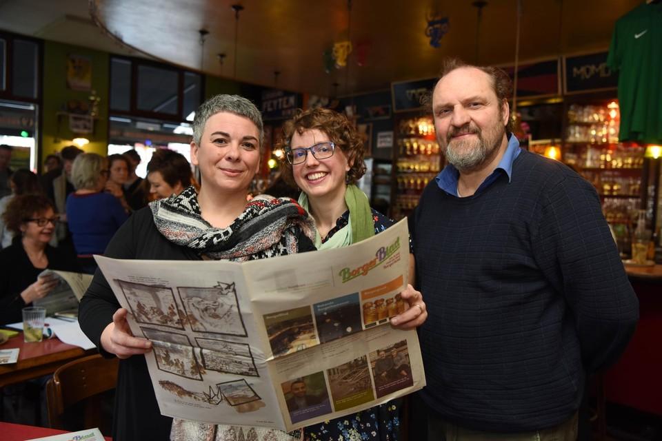 Leen Lesire, Bianca De Wolf en Koen Huybrechts bij de voorstelling van BorgerBlad.