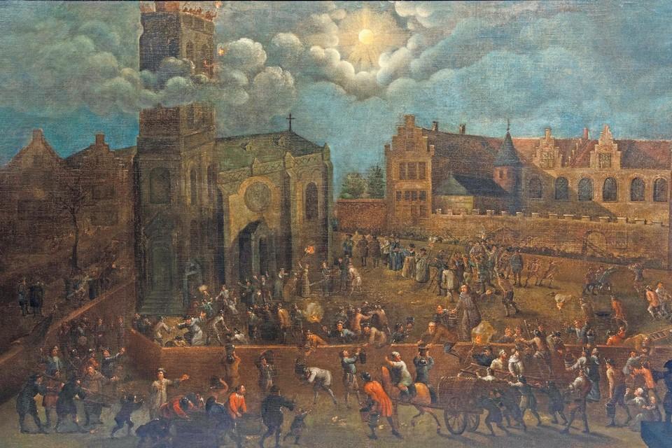Het schilderij dat de legende van De Maneblussers voorstelt, is opnieuw eentje van omstreeks 1700.