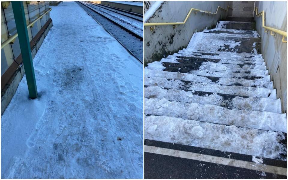 Reizigster Edith Koyen bezorgde onze redactie donderdag beelden van gladde perrons en trappen van treinstation Luchtbal