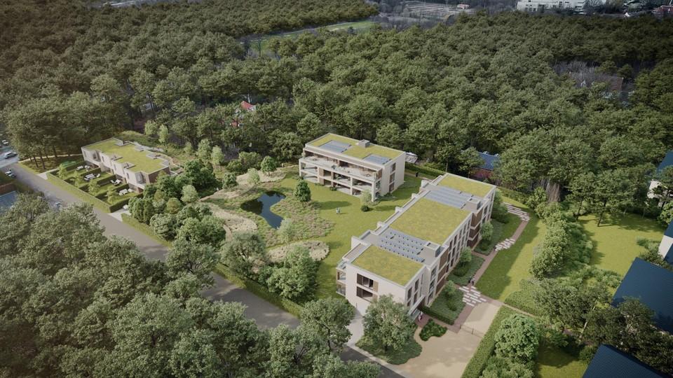 De woningen links komen op de locatie van de tennisvelden. Centraal ruimt de  villa met zwembad plaats voor 24 appartementen.