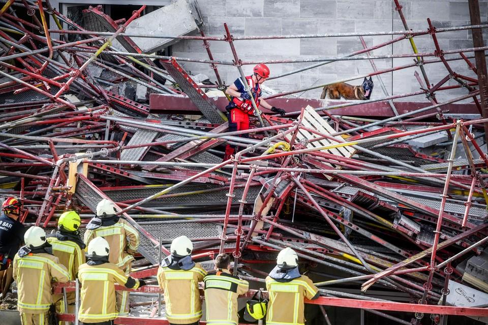 Reddingswerkers speurden op de site van de Antwerpse school naar slachtoffers. Het probleem met grote werven is dat je  met een cascade aan onderaannemers zit, waardoor niemand nog weet wie aansprakelijk is voor de bouwvakkers.