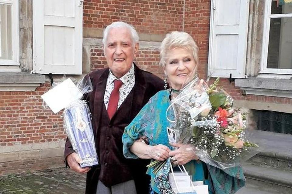 Het pasgetrouwde stel Frans De Meuter (87) en Blandine Lecomte (82).