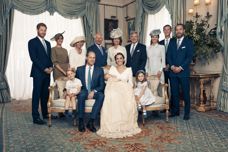 Met de familie bij de doop van prins Louis in 2018.