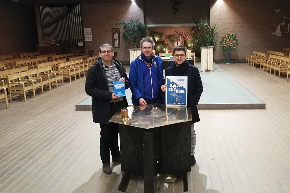 Kris Peeters, Jo Spiessens en Tim Vekemans van Gecoro en GeKoro organiseren in de kerk op de Molekens een inspirerende avond over alternatieve energievormen in onze buurt.
